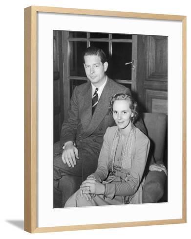 Ex-King Michael of Rumania with His Wife, Princess Anna Boubon Parma--Framed Art Print