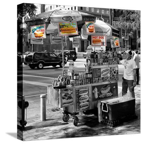 Safari CityPop Collection - NYC Hot Dog with Zebra Man II-Philippe Hugonnard-Stretched Canvas Print