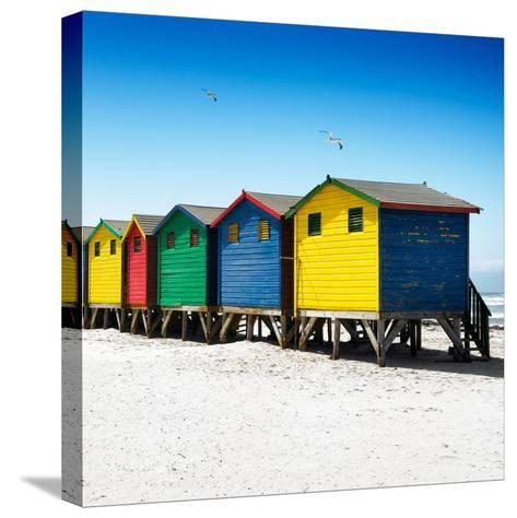Awesome South Africa Collection Square - Colorful Beach Huts at Muizenberg - Cape Town VI-Philippe Hugonnard-Stretched Canvas Print