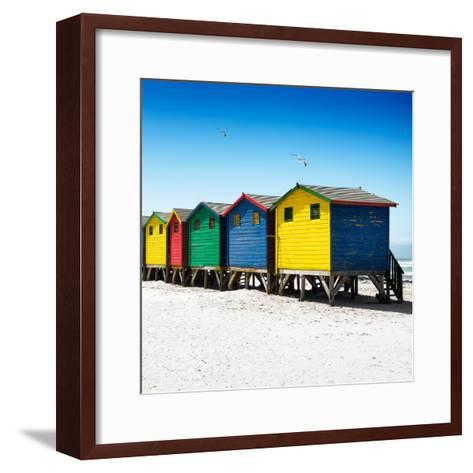 Awesome South Africa Collection Square - Colorful Beach Huts at Muizenberg - Cape Town VI-Philippe Hugonnard-Framed Art Print