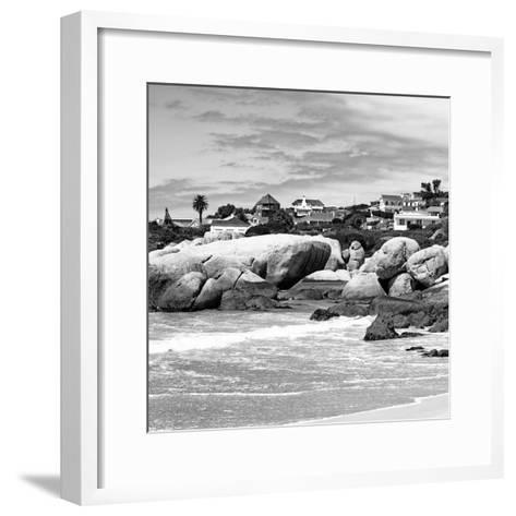 Awesome South Africa Collection Square - Landscape of Boulders Beach - Cape Town B&W-Philippe Hugonnard-Framed Art Print