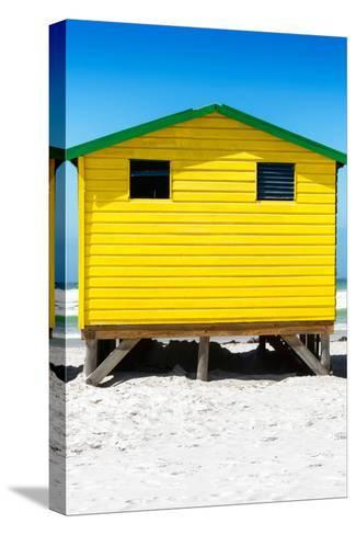Awesome South Africa Collection - Colorful Beach Hut - Yellow & Skyblue-Philippe Hugonnard-Stretched Canvas Print