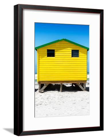 Awesome South Africa Collection - Colorful Beach Hut - Yellow & Skyblue-Philippe Hugonnard-Framed Art Print