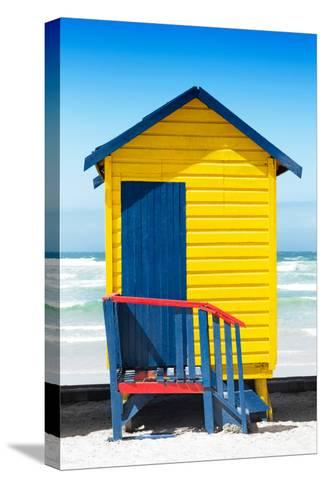 Awesome South Africa Collection - Colorful Beach Hut Cape Town - Yellow & Minight Blue-Philippe Hugonnard-Stretched Canvas Print