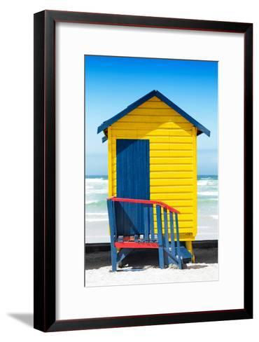 Awesome South Africa Collection - Colorful Beach Hut Cape Town - Yellow & Minight Blue-Philippe Hugonnard-Framed Art Print