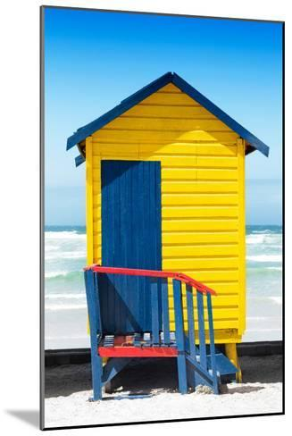 Awesome South Africa Collection - Colorful Beach Hut Cape Town - Yellow & Minight Blue-Philippe Hugonnard-Mounted Photographic Print