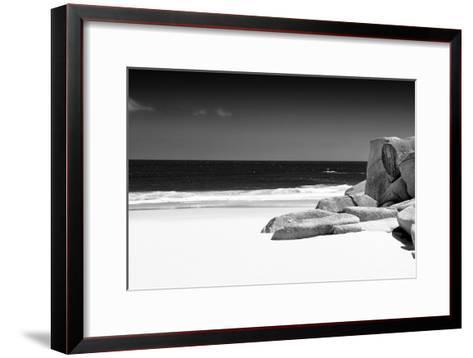 Awesome South Africa Collection B&W - Tranquil White Sand Beach-Philippe Hugonnard-Framed Art Print