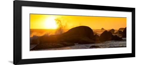 Awesome South Africa Collection Panoramic - Power of the Ocean at Sunset II-Philippe Hugonnard-Framed Art Print