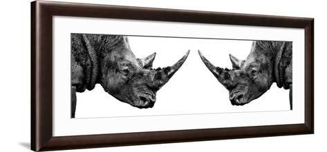 Safari Profile Collection - Rhinos Face to Face White Edition II-Philippe Hugonnard-Framed Art Print