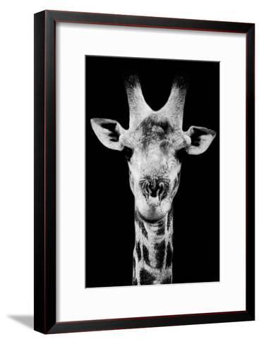 Safari Profile Collection - Portrait of Giraffe Black Edition V-Philippe Hugonnard-Framed Art Print