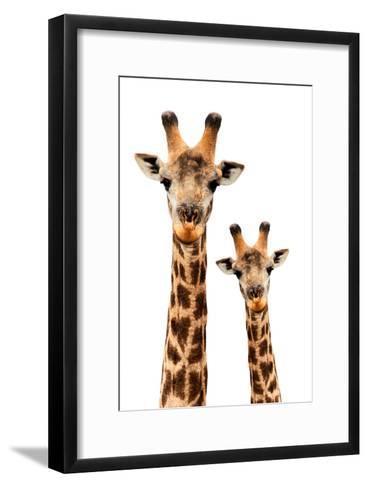 Safari Profile Collection - Portrait of Giraffe and Baby White Edition III-Philippe Hugonnard-Framed Art Print