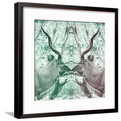 Awesome South Africa Collection Square - Reflection of Greater Kudu - Coral Green & Dimgray-Philippe Hugonnard-Framed Art Print