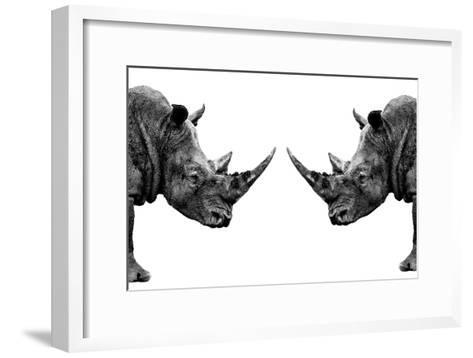 Safari Profile Collection - Rhinos Face to Face White Edition-Philippe Hugonnard-Framed Art Print