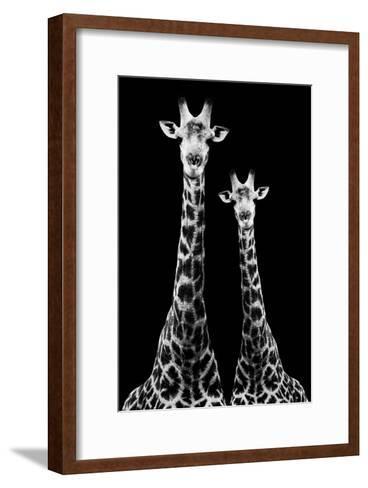 Safari Profile Collection - Two Giraffes Black Edition II-Philippe Hugonnard-Framed Art Print