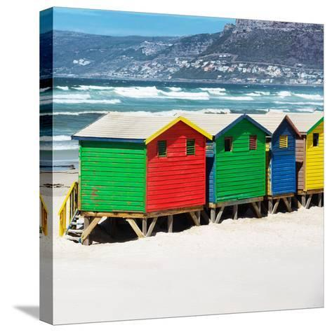 Awesome South Africa Collection Square - Colorful Beach Huts - Cape Town II-Philippe Hugonnard-Stretched Canvas Print