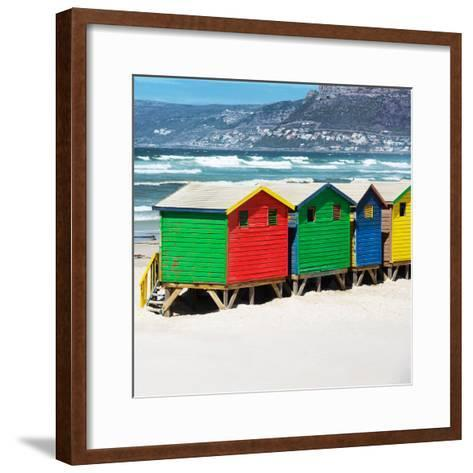Awesome South Africa Collection Square - Colorful Beach Huts - Cape Town II-Philippe Hugonnard-Framed Art Print