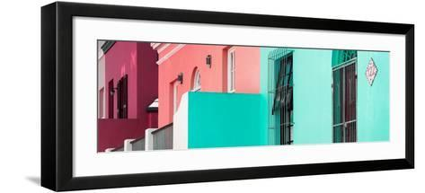 "Awesome South Africa Collection Panoramic - Colorful Houses ""One hundred twenty-two"" Coral Green-Philippe Hugonnard-Framed Art Print"