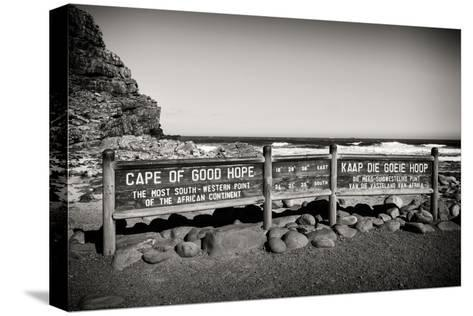 Awesome South Africa Collection B&W - Cape of Good Hope Sign-Philippe Hugonnard-Stretched Canvas Print