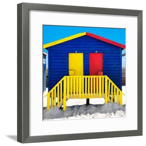 """Awesome South Africa Collection Square - Colorful Beach Huts """"Thirty One & Thirty Two"""" Blue-Philippe Hugonnard-Framed Art Print"""