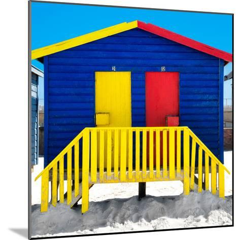 """Awesome South Africa Collection Square - Colorful Beach Huts """"Thirty One & Thirty Two"""" Blue-Philippe Hugonnard-Mounted Photographic Print"""