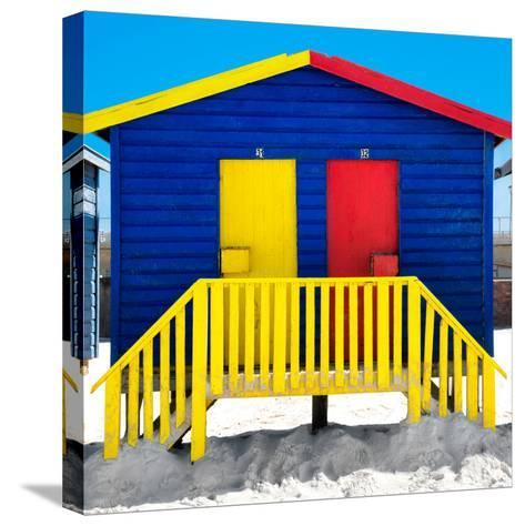 """Awesome South Africa Collection Square - Colorful Beach Huts """"Thirty One & Thirty Two"""" Blue-Philippe Hugonnard-Stretched Canvas Print"""