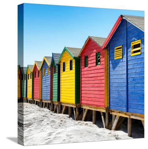 Awesome South Africa Collection Square - Colorful Beach Huts at Muizenberg - Cape Town III-Philippe Hugonnard-Stretched Canvas Print