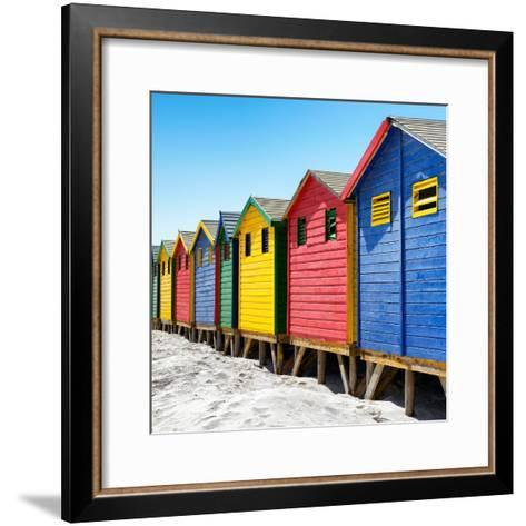 Awesome South Africa Collection Square - Colorful Beach Huts at Muizenberg - Cape Town III-Philippe Hugonnard-Framed Art Print