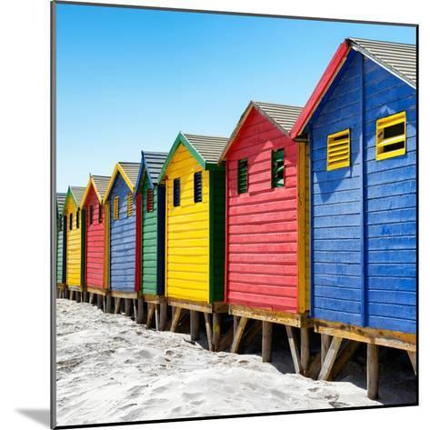Awesome South Africa Collection Square - Colorful Beach Huts at Muizenberg - Cape Town III-Philippe Hugonnard-Mounted Photographic Print