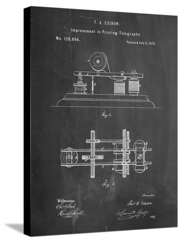 Edison Printing Telegraph Patent Art-Cole Borders-Stretched Canvas Print
