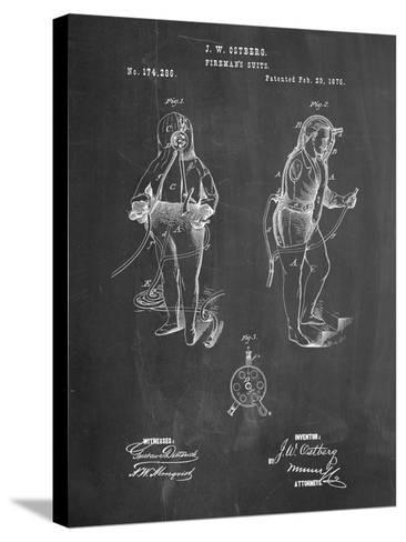 Firefighter Suit 1876 Patent Print-Cole Borders-Stretched Canvas Print