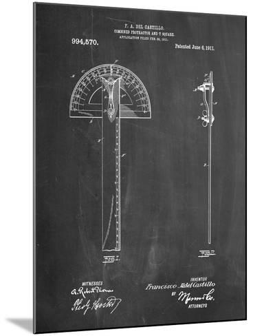Protractor T-Square Patent-Cole Borders-Mounted Art Print