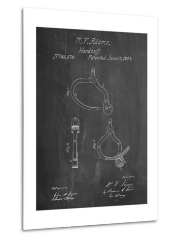 Vintage Police Handcuffs Patent-Cole Borders-Metal Print