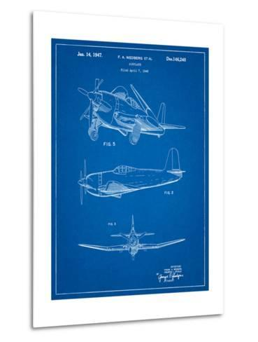 Contra Propeller Low Wing Airplane Patent-Cole Borders-Metal Print