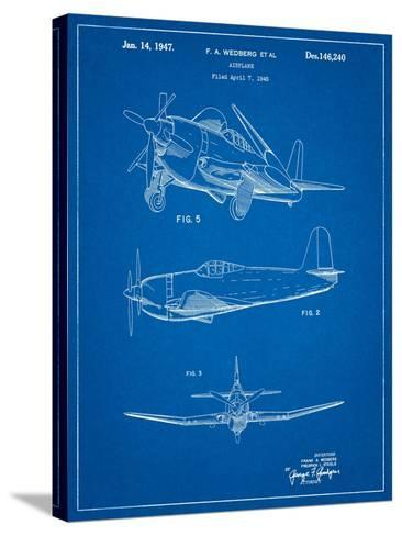 Contra Propeller Low Wing Airplane Patent-Cole Borders-Stretched Canvas Print