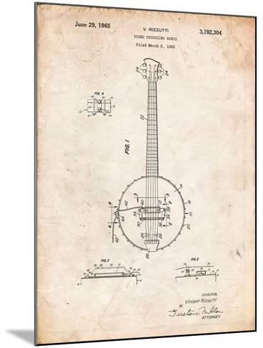 Modern Banjo Patent-Cole Borders-Mounted Art Print