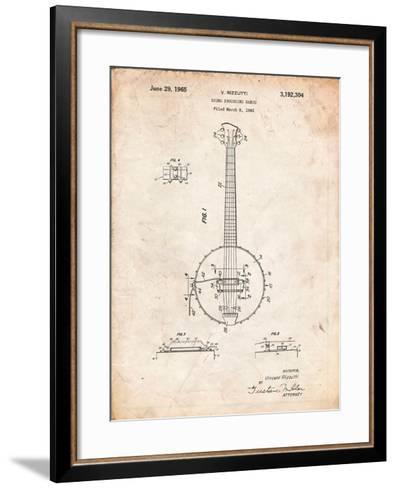 Modern Banjo Patent-Cole Borders-Framed Art Print