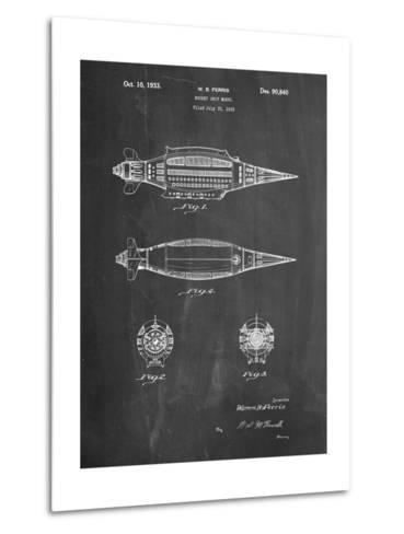 Rocket Ship Model Patent-Cole Borders-Metal Print