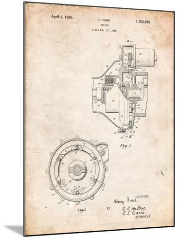 Ford Engine 1930 Patent-Cole Borders-Mounted Art Print
