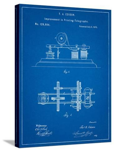 Edison Printing Telegraph Patent Art-Cole Borders-Stretched Canvas Print