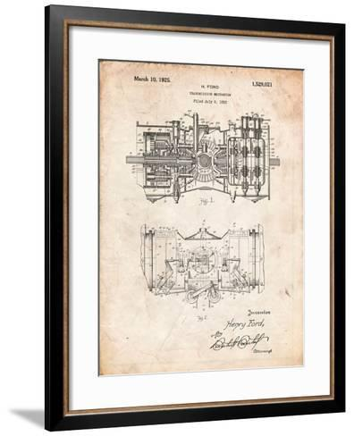 Ford Railcar Transmission Gearing 1925 Patent Print-Cole Borders-Framed Art Print