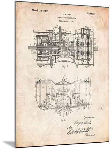 Ford Railcar Transmission Gearing 1925 Patent Print-Cole Borders-Mounted Art Print