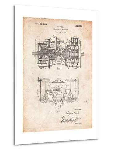 Ford Railcar Transmission Gearing 1925 Patent Print-Cole Borders-Metal Print