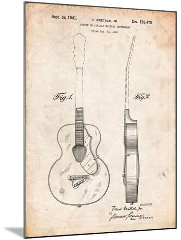 Gretsch 6022 Rancher Guitar Patent-Cole Borders-Mounted Art Print
