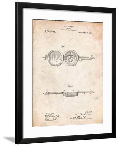Pocket Transit Compass 1919 Patent-Cole Borders-Framed Art Print