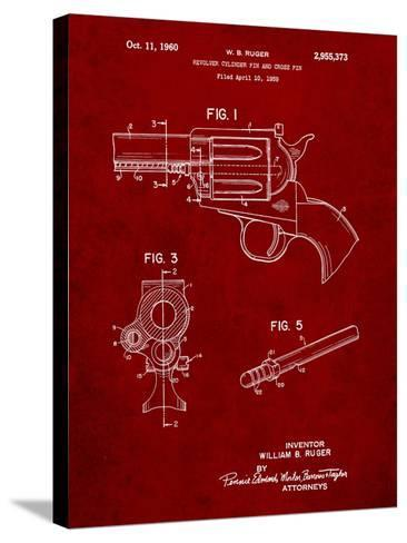 Ruger Revolver Patent Art-Cole Borders-Stretched Canvas Print
