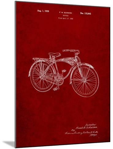 Schwinn 1939 BC117 Bicycle Patent-Cole Borders-Mounted Art Print