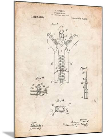 Zipper 1917 Patent-Cole Borders-Mounted Art Print