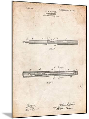 Sanford Fountain Pen 1905 Patent-Cole Borders-Mounted Art Print