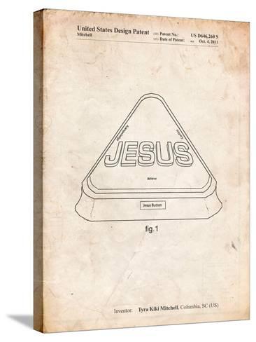 Jesus Button-Cole Borders-Stretched Canvas Print