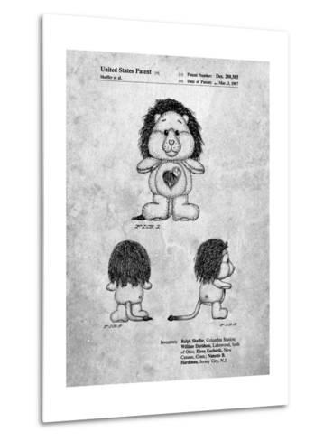 Brave Heart Lion Care Bear Patent Art Print-Cole Borders-Metal Print